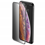 Folie iPhone 11 Pro Max / iPhone XS Max, Sticla Securizata 3D, Full Screen, Anti-Spy, Protectie Praf Difuzor, Baseus, Negru