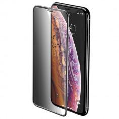 Folie iPhone 11 Pro Max / iPhone XS Max, Sticla Securizata 3D, Full Screen, Anti-Spy, Protectie Praf Difuzor, Baseus, Negru