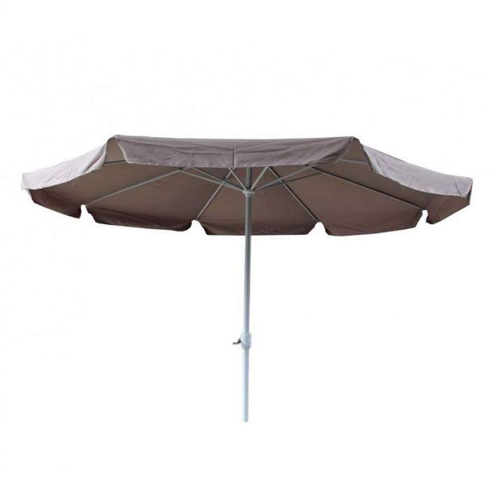 Umbrela pentru terasa Nfau, rotunda, structura metal, 350 x 250 cm, crem