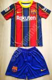Compleu Echipament fotbal pentru copii FC BARCELONA Messi model 2020-2021, YL, YXS, YXXL, Tricou + Pantalon