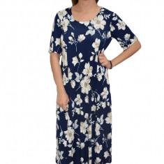 Rochie eleganta, in nuanta de bleumarin, cu imprimeu floral