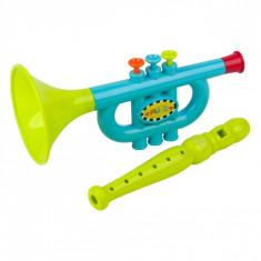 Set instrumente muzicale,trompeta si flaut, 20x11x30 cm, multicolor