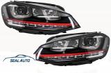 Faruri 3D LED Volan Dreapta compatibil cu VW Golf 7 VII (2012-2017) R20 GTI Design Semnal Dinamic LED