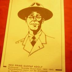Carte Postala ilustrata - Scout - Pritul Gustav Adolf - Pesedinte Cercetasi Sued