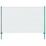 Gard din plasă de sârmă cu stâlpi, verde, 25 x 2 m, oțel