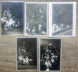 Seara de ajun, copii cu cadouri// lot 5 fotografii perioada interbelica, Portrete, Romania 1900 - 1950