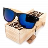 Ochelari de soare Bobo Bird CG004, lentila albastra Wooden Lux