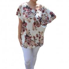 Bluza cu imprimeu floral mini-rose pe fond alb