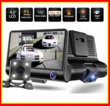 Camera Video Auto Full HD cu 3 Camere,DVR,ecran 4 inch,fata,spate si interior