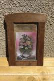 Pictură miniatură ulei carton perioadă interbelică, Flori, Art Nouveau