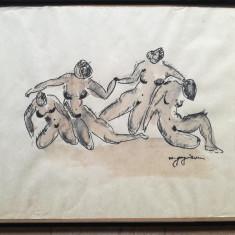 Tablou Femei Nud Dansând, tehnică mixtă pe hârtie, semnat, 38 x 50, M. Guguianu