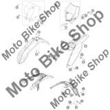 MBS Plastic portocaliu numar fata KTM 125 EXC 2008 #1, Cod Produs: 7730800704404KT