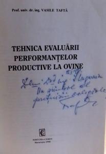 TEHNICA EVALUARII PERFORMANTELOR PRODUCTIVE LA OVINE de VASILE TAFTA , 1998