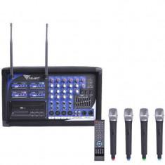 Statie 4 microfoane PA-180 UHF, 4 canale, LED, master EQ