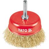 Yato - YT-4750 - Perie oala, 75x- mm, fir ondulat, tija cilindrica 6 mm