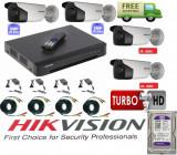 Cumpara ieftin Kit 4 camere supraveghere 2MP Turbo HD HikVision + DVR 4 canale HDTVI Turbo HD HikVision + Surse + Cablu sertizat + HDD 500GB