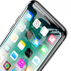 Protection, baseus, 0.2mm all-screen, arc-surface, tempered glass, iphone x, black