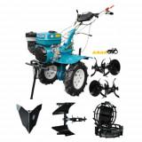 Motocultor HS 1000B, roti metalice, plug reversibil, rarita fixa