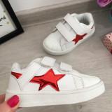 Adidasi albi cu scai tenisi pantofi sport unisex fete baieti 25 30