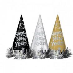 Coifuri Happy New Year cu sclipici - 22 cm, Amscan 259659, set 12 buc