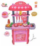 Set Bucatarie de jucarie cu mancare, ustensile, recipiente, sunete si lumini pentru copii - 69812