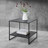 [en.casa]® Masuta-noptiera Dona, 51 x 53 x 51 cm, metal, negru mat, cu polita depozitare HausGarden Leisure