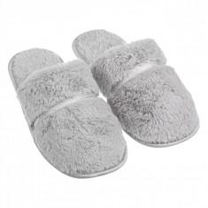 Papuci imblaniti de dama, pentru casa, model panglica argintie, marime 37-38