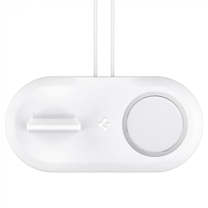 Stand incarcare Spigen MagFit Duo pentru MagSafe si Apple Watch, Alb