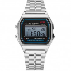 Ceas Electronic Digital Retro iUni WR1, Curea Metalica, Lady Silver