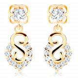 Cumpara ieftin Cercei din aur galben 585 - spirală și arc cu diamante strălucitoare
