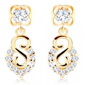 Cercei din aur galben 585 - spirală și arc cu diamante strălucitoare