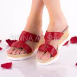 Sandale dama din piele naturala, rosu - NA304ROSU