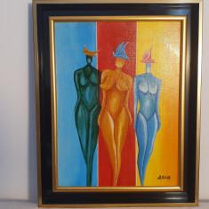 "PICTURA, TABLOU MODERN ,""FETE CU PALARII"" , 45x55cm, PICTOR ROMAN CONSACRAT,"