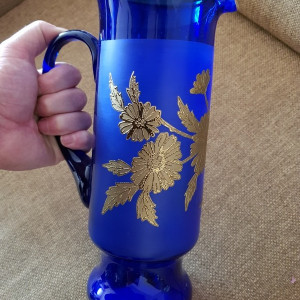 Carafa vaza sticla cobalt mare 30cm manufactura foita aur cadou antichitati
