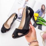 Pantofi cu toc dama negri MDL00858