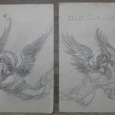Ingeri tristi// desene pregatitoare inedite, creion pe hartie, Marcel Chirnoaga, Arbori, Ulei, Altul