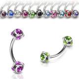 Piercing pentru sprâncene din oțel inoxidabil - inel cu rame ornamentate, zirconii rotunde - Culoare zirconiu piercing: Verde deschis - G