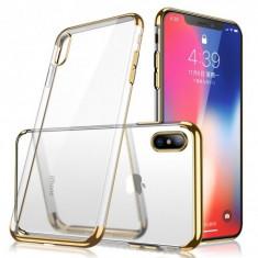 Husa Clear Color Effect compatibil Apple, iPhone XS Max cu silicon dur pe margini , Gold