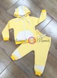 Trening copii bumbac galben-alb