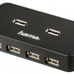 Hub USB Hama 39859, 7 porturi USB 2.0, cu sursa (Negru)
