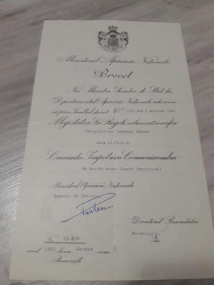 Brevet Medalia Cruciada Impotriva Comunismului cu bareta Marea Neagra argintata foto