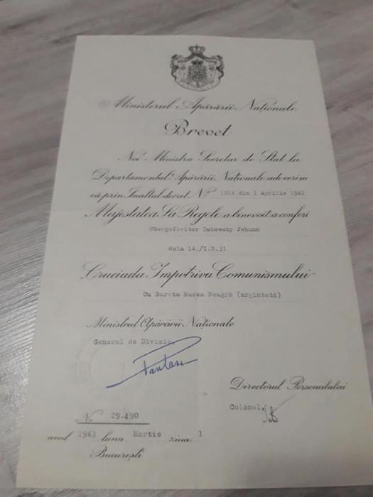 Brevet Medalia Cruciada Impotriva Comunismului cu bareta Marea Neagra argintata