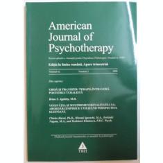 AMERICAN JOURNAL OF PSYCHOTHERAPY, EDITIA IN LIMBA ROMANA APARE TRIMESTRIAL, VOL. 62, NR. 2, 2008