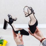 Pantofi cu toc dama Piele negri Tisalia
