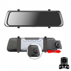 Camera video auto FullHD, dubla, tip oglinda, ecran tactil 10 inch