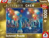 Cumpara ieftin Puzzle Statuia Libertatii cu artificii, 1000 piese, Schmidt