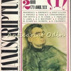 Manuscriptum. Revista Trimestriala - Nr.: 2/1988 * (71) Anul XIX