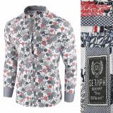 Camasa pentru barbati, alb, model floral, flex fit, casual, premium - Babilon, 3XL, L, M, XL, XXL, Maneca lunga