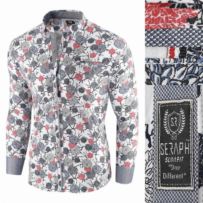 Camasa pentru barbati, alb, model floral, flex fit, casual, premium - Babilon