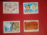 NICARAGUA, VIZITĂ PAPA - SERIE COMPLETĂ ȘTAMPILATĂ, Stampilat